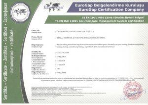 ISO 14001 Çevre Yönetim Sistemi Belgesi - İngilizce