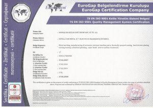ISO 9001 Kalite Yönetim Sistemi Belgesi - İngilizce
